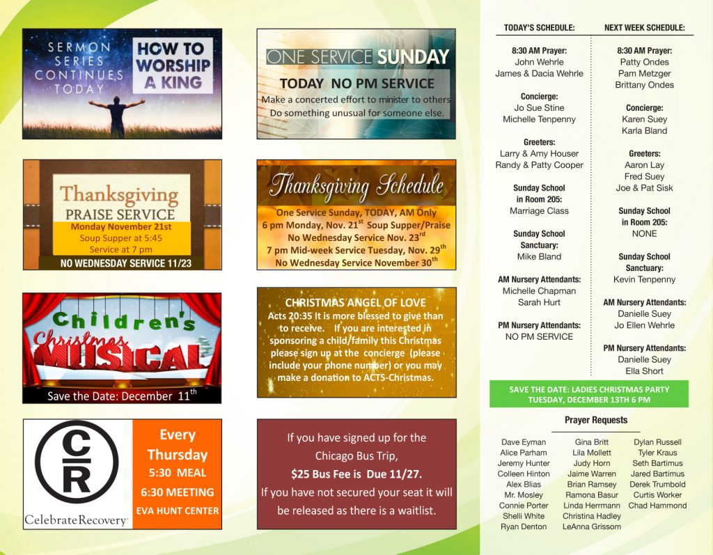Weekly Bulletin – Welcome to Christ Tabernacle